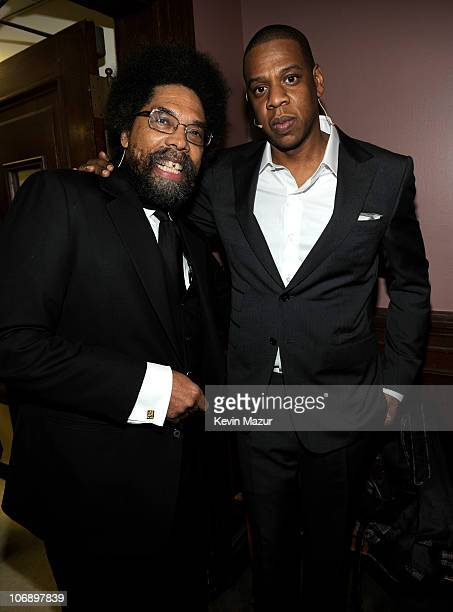 Cornel West and JayZ attend Decoded book release at New York Public Libaray Celeste Bartos Forum on November 15 2010 in New York City
