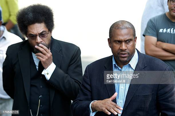 Cornel West and Tavis Smiley speak to the crowd during day of the 2011 Poverty Tour on August 6 2011 in Madison Wisconsin