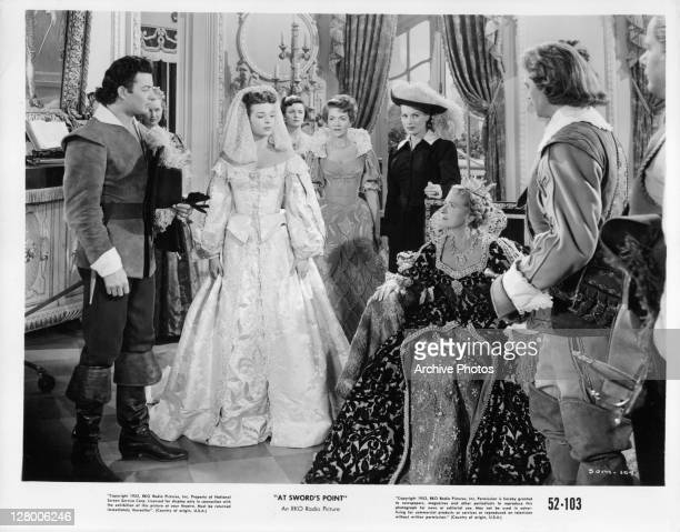 Cornel Wilde speaking with Gladys Cooper in a scene from the film 'At Sword's Point' 1952