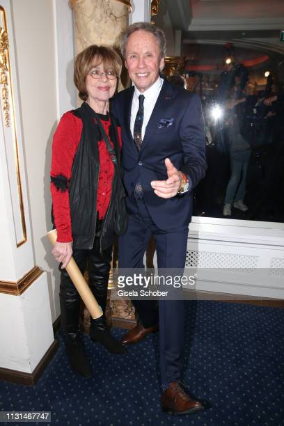 Cornelia Conny Froboess and Peter Kraus during the celebration of Peter Kraus' 80th birthday at Schuhbecks Suedtiroler Stuben on March 18 2019 in...