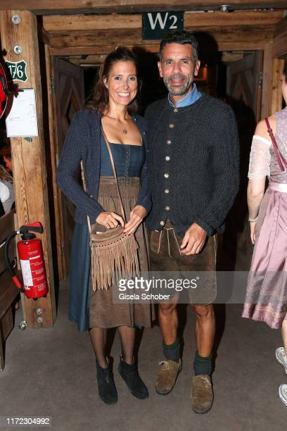 """Cornelia """"Conny"""" Lehmann and Andreas during the Oktoberfest 2019 at Kaeferschaenke beer tent / Theresienwiese on September 29, 2019 in Munich,..."""