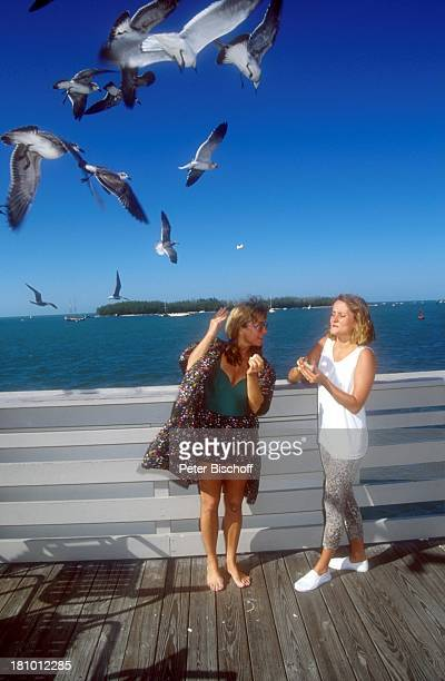 Cornelia Froboess Tochter Agnes Matiasek neben den Dreharbeiten zur ARDSerie Praxis BülowbogenAuslandsfolge Key West/Florida/USA Möwen füttern Vogel...