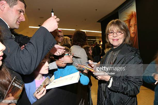 Cornelia Froboess with fans during the German premiere of the film 'Ostwind 2' on May 3 2015 in Munich Germany