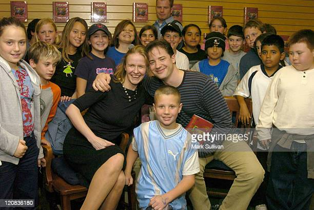 Cornelia Funke and Brendan Fraser at signing of 'Inkheart' joined by 5th grade students