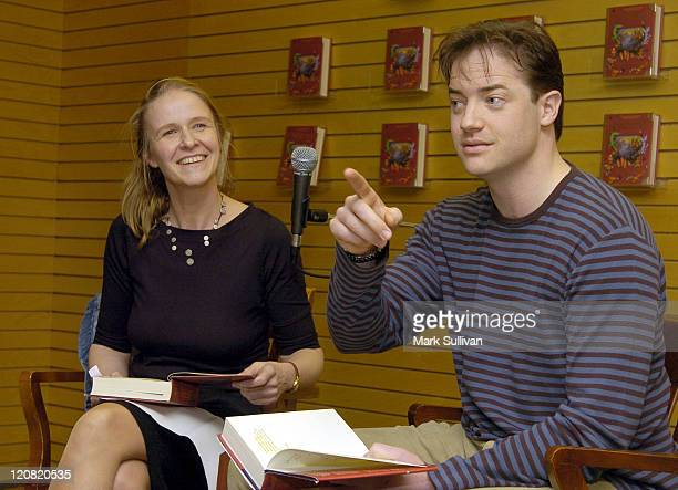 Cornelia Funke and Brendan Fraser at signing of 'Inkheart'