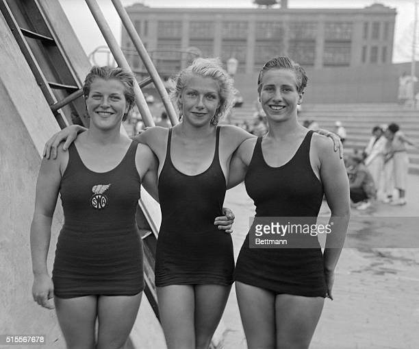 Cornelia Gillisen of New York Dorothy Poynton Hill of Los Angeles and Velma Dunn of Los Angeles at the women's Olympic tryouts All three qualified...