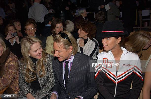 Cornelia Guest Carson Kressley and Nicky Hilton during Olympus Fashion Week Fall 2004 Badgley Mischka Front Row and Backstage at The Promenade at...