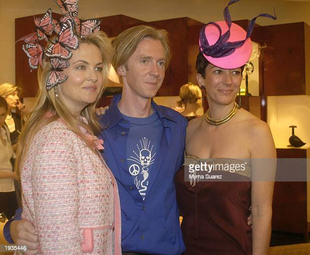 Cornelia Guest, Phillip Treacy and Ghisliane Maxwell pose for a picture as they attend a cocktail reception hosted by Cornelia Guest to honor Philip...