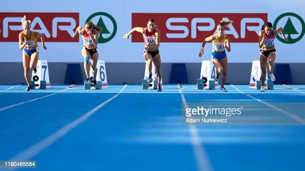 Cornelia Halbheer from Switzerland competes in B-race 100m Women final while European Athletics Team Championships Super League Bydgoszcz 2019 - Day...