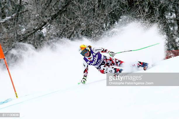 Cornelia Huetter of Austria competes during the Audi FIS Alpine Ski World Cup Women's Downhill Training on February 18 2016 in La Thuile Italy