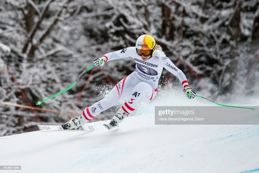 Cornelia Huetter of Austria competes during the Audi FIS Alpine Ski World Cup Women's Downhill on February 3, 2018 in Garmisch-Partenkirchen, Germany.