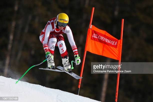Cornelia Huetter of Austria in action during the Audi FIS Alpine Ski World Cup Women's Downhill on December 1 2018 in Lake Louise Canada