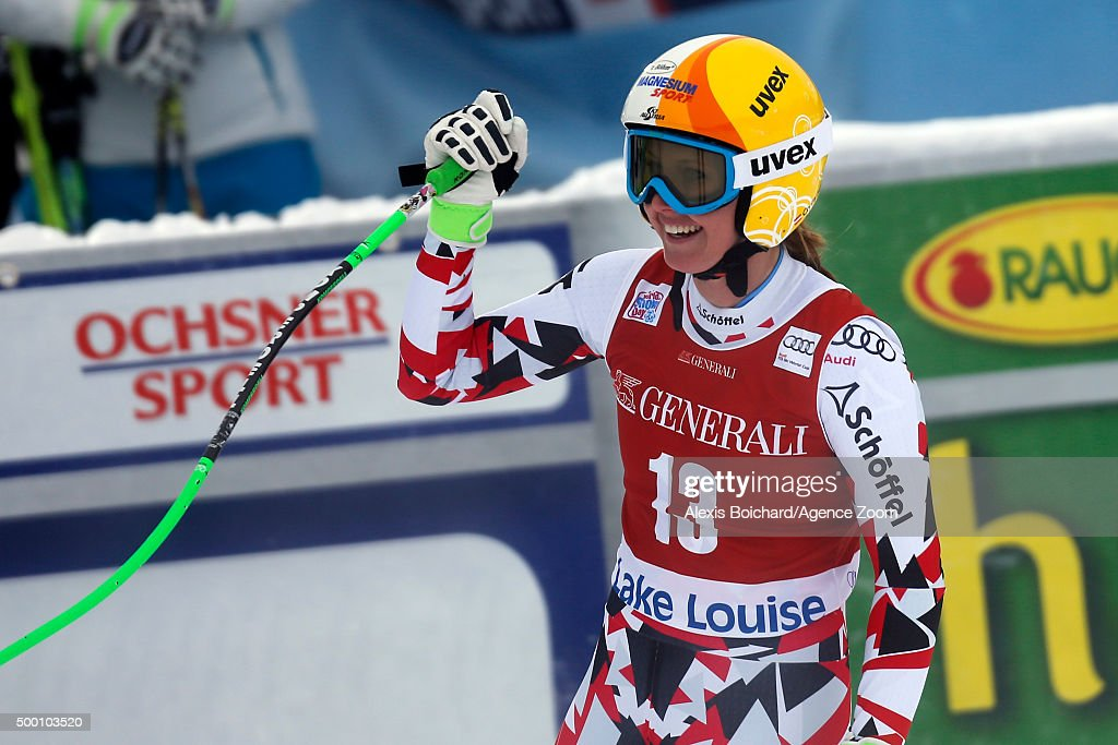 Cornelia Huetter of Austria takes 3rd place during the Audi FIS Alpine Ski World Cup Women's Downhill on December 05, 2015 in Lake Louise, Canada.
