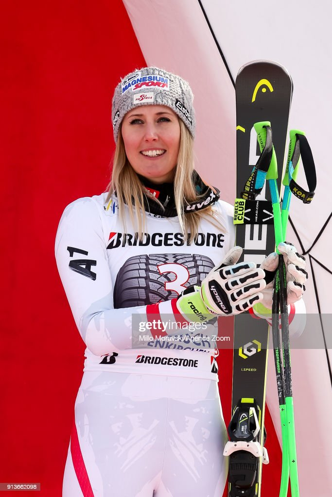 Cornelia Huetter of Austria takes 3rd place during the Audi FIS Alpine Ski World Cup Women's Downhill on February 3, 2018 in Garmisch-Partenkirchen, Germany.