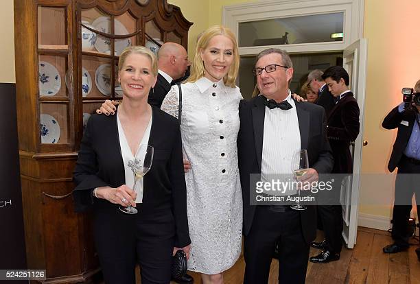 Cornelia Poletto, Judith Rakers and Jan Hofer attend the 'Champagnepreis fuer Lebensfreude' at Hotel Louis C Jacob on April 25, 2016 in Hamburg,...