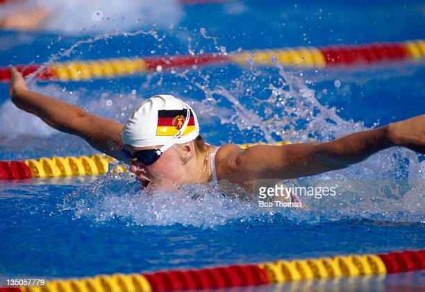 Cornelia Sirch of East Germany in action during the World Swimming Championships in Madrid circa August 1986