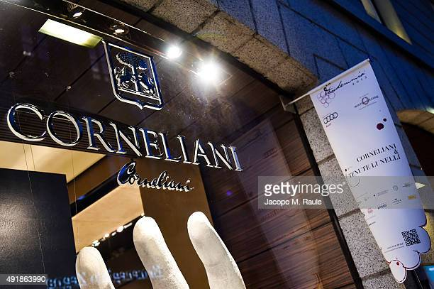 Corneliani Shop Window during 'La Vendemmia 2015' The World's Finest Wine Lifestyle Experience on October 8 2015 in Milan Italy