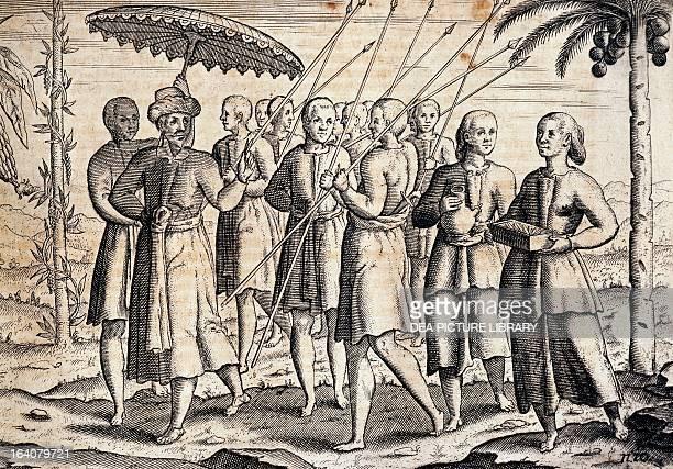 Cornelis de Houtman receiving in the island of Sumatra engraving from by Cornelis de Houtman's Travels in Western India The Netherlands 1647...
