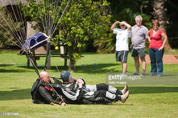 Cornelis 'Kees' van Dam celebrates his 100th birthday with a parachute jump with instructor Robert Verner at the Pretoria Parachuting Club on 10...