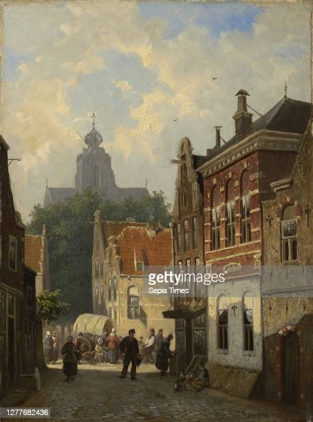 Cornelis Springer, Dutch, 1817–1891, Dutch Street Scene, c. 1850–55, Oil on panel, 12 3/16 x 9 1/16 in. .