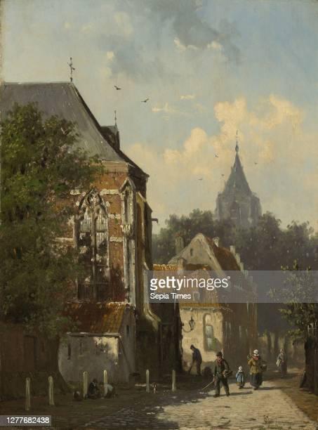 Cornelis Springer, Dutch, 1817–1891, Dutch Street Scene, c. 1850–55, Oil on panel, 12 3/16 x 9 in. .