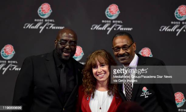 Cornelius Green right with Laura Farber President and Chairmen of the Tournament of Roses and Jaque Robinson after being inducted along with Matt...