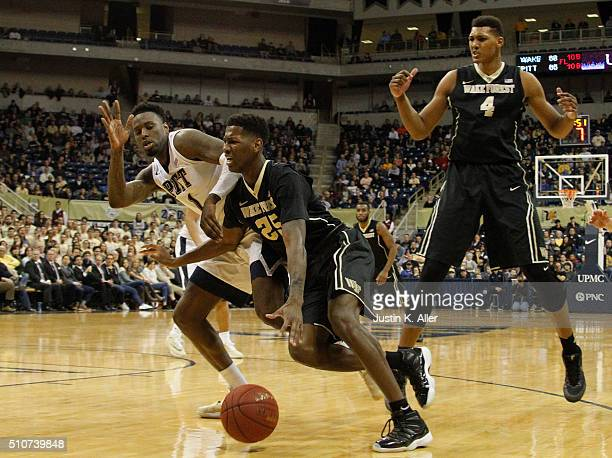 Cornelius Hudson of the Wake Forest Demon Deacons drives to the basket against Jamel Artis of the Pittsburgh Panthers during the game at Petersen...