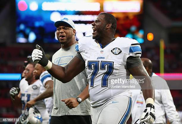Cornelius Lucas of the Detroit Lions celebrates victory during the NFL match between Detroit Lions and Atlanta Falcons at Wembley Stadium on October...