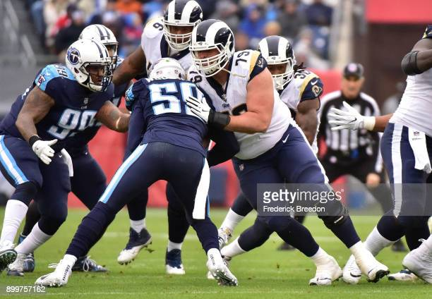 Cornelius Lucas of the Los Angeles Rams plays against the Tennessee Titans at Nissan Stadium on December 24 2017 in Nashville Tennessee