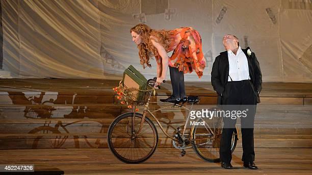 Cornelius Obonya and Brigitte Hobmeier are seen during the photo rehearsal of 'Jedermann' on the Domplatz ahead of Salzburg Festival 2014 on July 16...