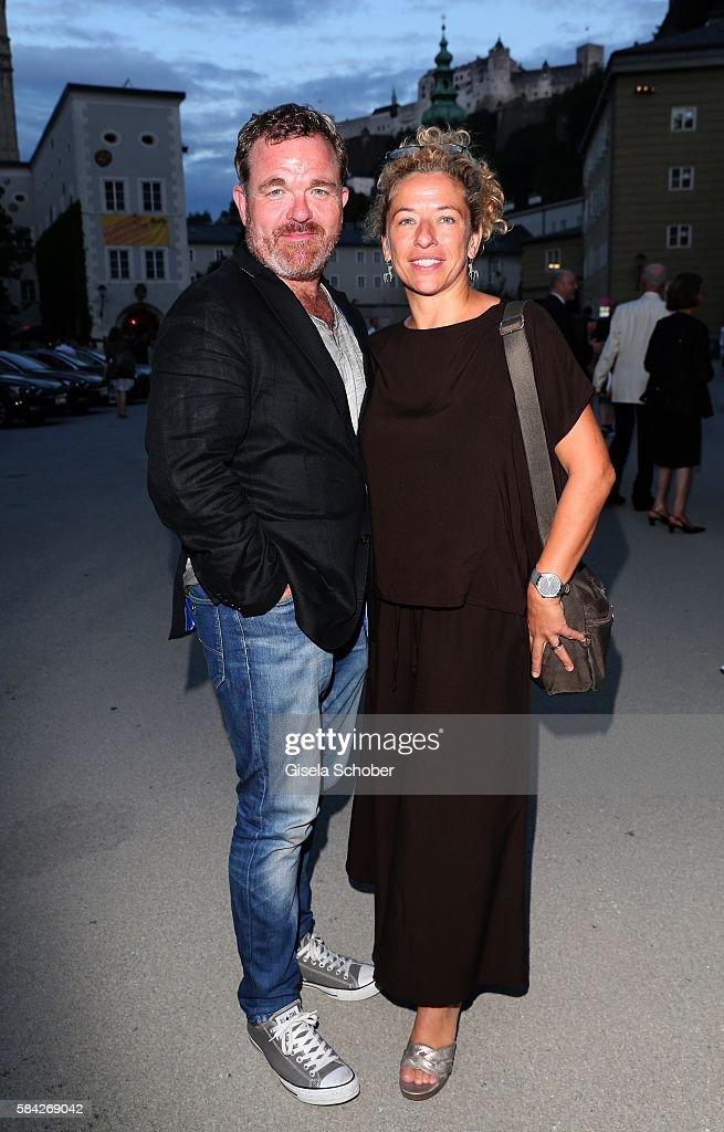 Cornelius Obonya and his wife Caroline Pienkos during the opera premiere 'The Exterminating Angel' at Haus fuer Mozart on July 28, 2016 in Salzburg, Austria.