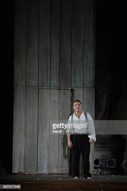 Cornelius Obonya is seen during the photo rehearsal of 'Jedermann' on the Domplatz ahead of Salzburg Festival 2014 on July 16, 2014 in Salzburg,...