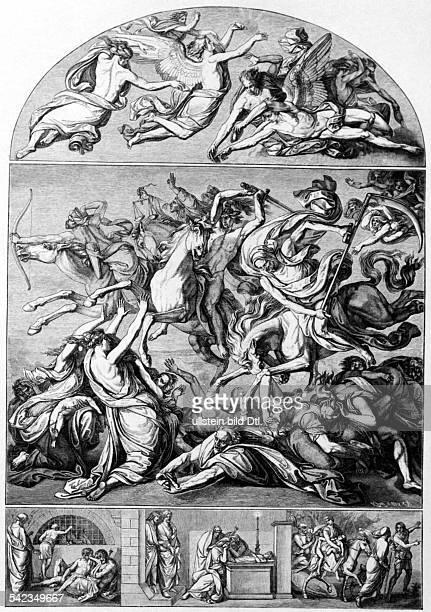 Cornelius Peter von *2309178306031867Maler D aus Cornelius' Kartons zur Fürstengruft Mittelbild 'Die apokalyptischen Reiter' aus der Offenbarung des...