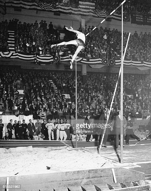 Cornelius Warmerdam of the Olympic Club San Francisco is pictured as he shattered all existing pole vault records Warmerdam without the aide of sky...