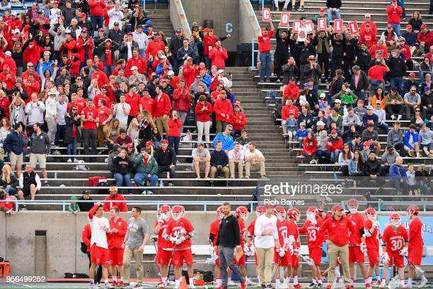 Cornell Big Red fans cheer during the 2018 Ivy League Men's Lacrosse Championship against the Yale Bulldogs at Lawrence A Wien Stadium on May 6 2018...