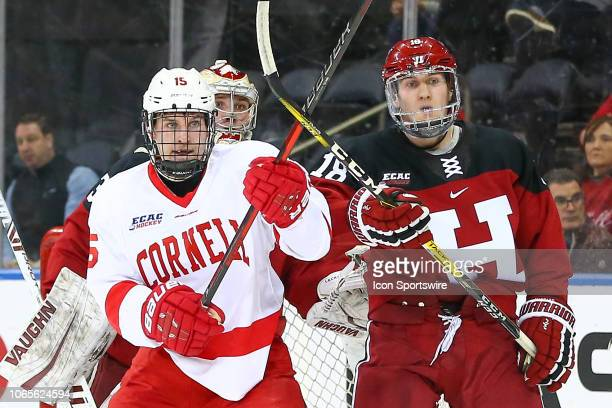 Cornell Big Red forward Max Andreev battles Harvard Crimson forward Jack Donato during the 2018 Frozen Apple College Hockey game between the Cornell...