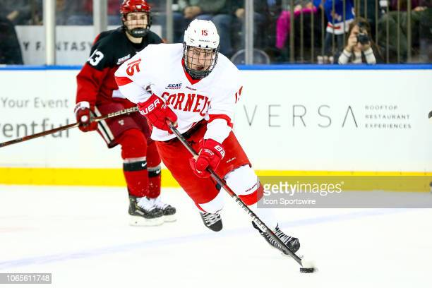 Cornell Big Red forward Max Andreev skates during the 2018 Frozen Apple College Hockey game between the Cornell Big Red and the Harvard Crimson on...