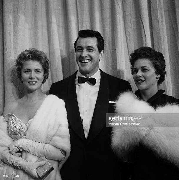 Cornell Borchers, Actor Rock Hudson and Phyllis Gates attend a Academy Awards in Los Angeles,California.