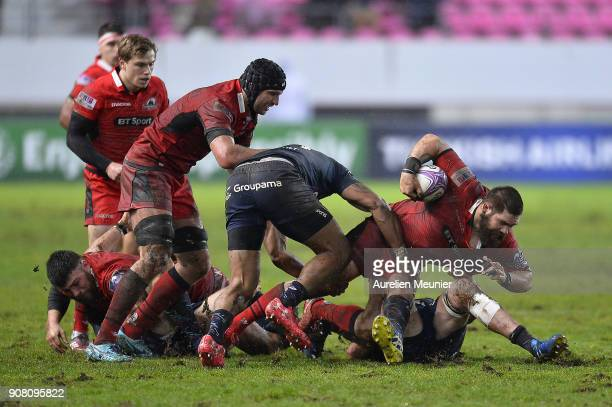 Cornell Du Preez of Edinburgh is tackled during the European Rugby Challenge Cup match between Stade Francais and Edinburgh at Stade JeanBouin on...