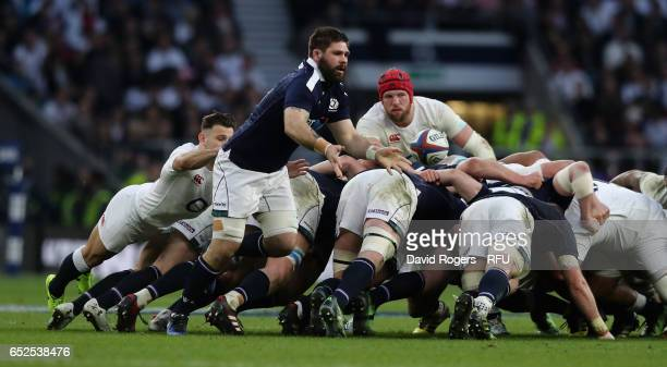 Cornell du Preez of Scotland passes the ball during the RBS Six Nations match between England and Scotland at Twickenham Stadium on March 11 2017 in...