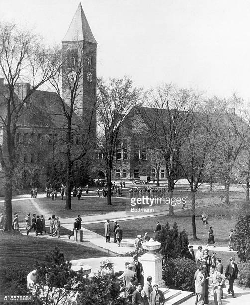 Cornell University Ithica New York A view of the campus with the library and clock tower 1920's photograph