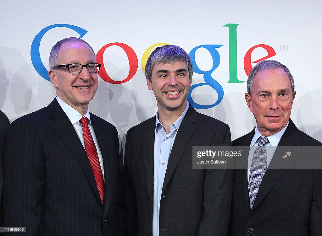 Cornell University president David Skorton, Google co-founder and CEO Larry Page and New York City Mayor Michael Bloomberg pose for a photo following a news conference at the Google offices on May 21, 2012 in New York City. Google announced today that it will allocate 22,000 square feet of space in its New York headquarters to CornellNYC Tech while the university completes its new campus on Roosevelt Island.