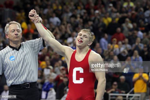 Cornell's Kyle Dake was victorious in the final match of the evening at the NCAA Photos via Getty Images Division 1 Wrestling Championships in Des...