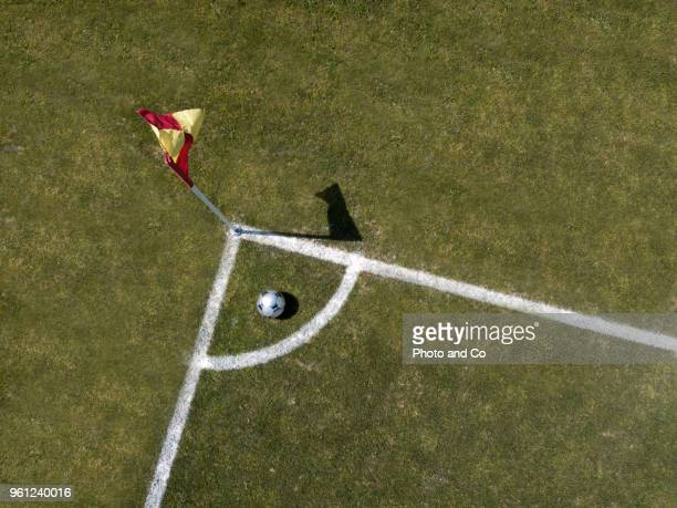 corner arc, football field, aerial view
