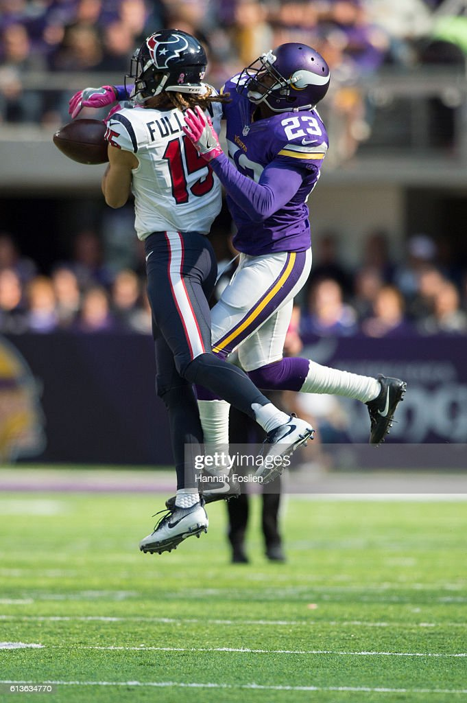Corner back Terence Newman #23 of the Minnesota Vikings bats the ball away from receiver Will Fuller #15 of the Houston Texans of the game on October 9, 2016 at US Bank Stadium in Minneapolis, Minnesota.