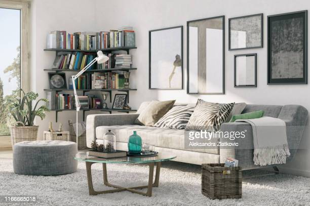 corner bookshelf and cozy sofa - living room wallpaper stock pictures, royalty-free photos & images