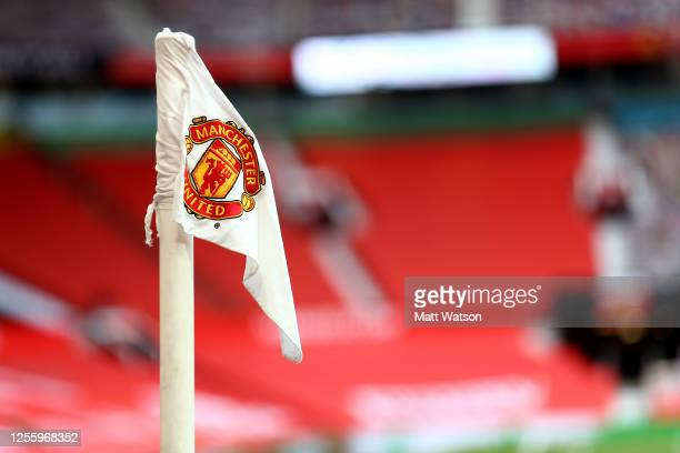 Corner flag ahead of the Premier League match between Manchester United and Southampton FC at Old Trafford on July 13, 2020 in Manchester, United...