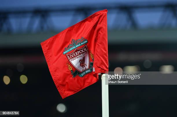A corner flag at anfield is seen during the Premier League match between Liverpool and Manchester City at Anfield on January 14 2018 in Liverpool...