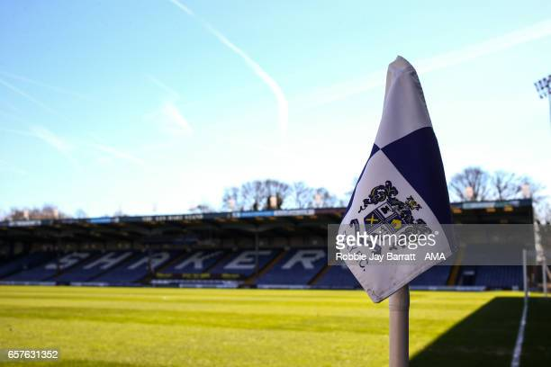 Corner flag at Gigg Lane home stadium of Bury prior to the Sky Bet League One match between Bury and Fleetwood Town at Gigg Lane on March 25 2017 in...