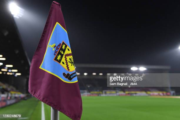 Corner flag at Turf Moor the home stadium of Burnley during the Premier League match between Burnley and Wolverhampton Wanderers at Turf Moor on...